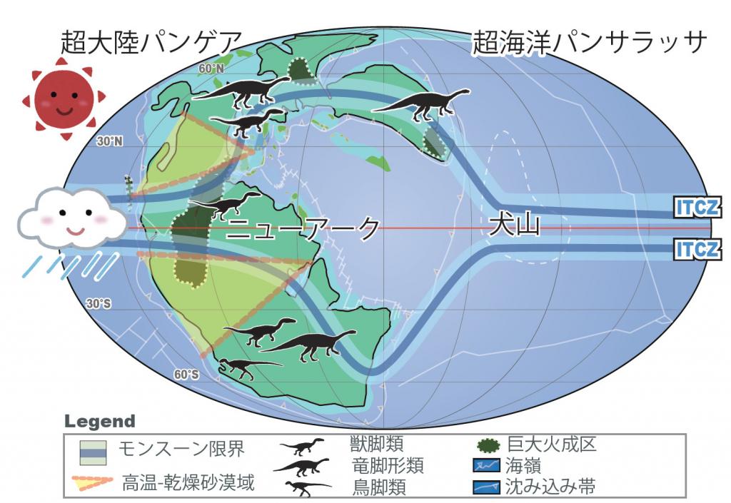 恐竜時代の地球環境や生態系に1000万年周期のモンスーンが与えた影響